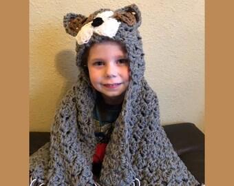 Hooded dog blanket, dog blanket, hooded blanket, hooded animal blanket, crocheted dog blanket,  Hooded puppy blanket, All sizes