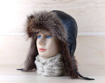 Size: L, Men/Women Ushanka, Fur Trapper Hat, Aviator Cap, Bomber hat, Russian Hat, Real Black Leather, Recycled Raccoon Fur CA12