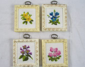 Set of 4 Crewel Wall Hangings Complete Framed Flowers