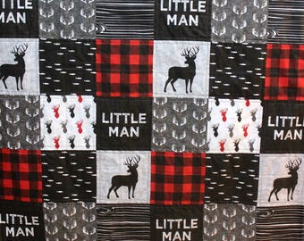 Lumberjack Deer Baby Toddler Quilt & Fitted Sheet, Crib Bed Set, Grey Red Black Bedding, Boy Bedding, Woodland Bed Set, Lumberjack Nursery