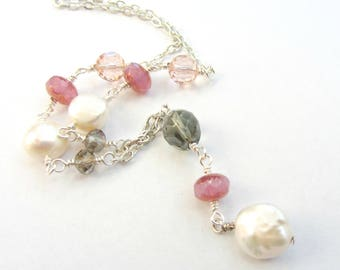 Pink Gray and White Pearl Necklace, Coin Pearl Pink and Gray Beaded Y Necklace, Beaded Pearl Mermaid Necklace