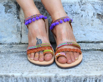 "Greek Leather Sandals ""ARTEMIS"", Boho sandals, pom pom sandals, colorful hippie sandals, brown purple sandals, women flat shoes, strappy"