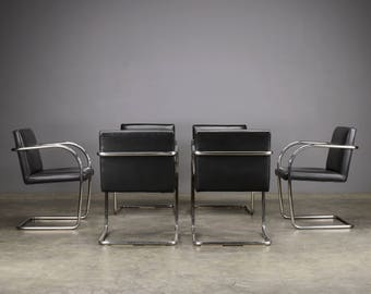6 Black Leather Brno Chairs Mies van der Rohe Thonet