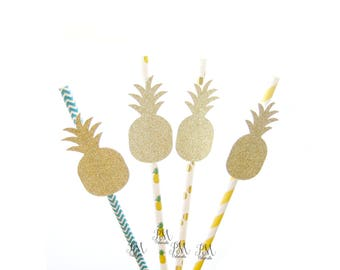 25 Mixed Tropical Paper Straws with Glitter Pineapple - pineapple straws, tropical straws, wedding, engagement, birthday, pineapple party