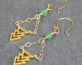 Gold chevron earrings, emerald earrings, dangle earrings, handmade findings, chandelier earrings, geometric jewelry