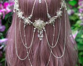 Crystal Lily Circlet, Flower Crown, festival, cosplay, headpiece, crown, Art Nouveau, costume, princess, fairy queen, Cochella, wedding