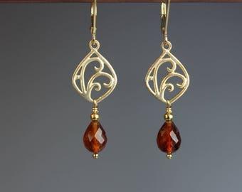 Garnet Earrings - Garnet Jewelry - Vermeil Gold Earrings - Hessonite Garnet - Garnet and Gold - Gemstone earrings - Garnet Waves