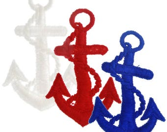 "3"" Nautical Anchor Embroidered Applique Patches available in White, Red and Navy Blue Sew On Vintage Ship Anchors with Rope Appliques"