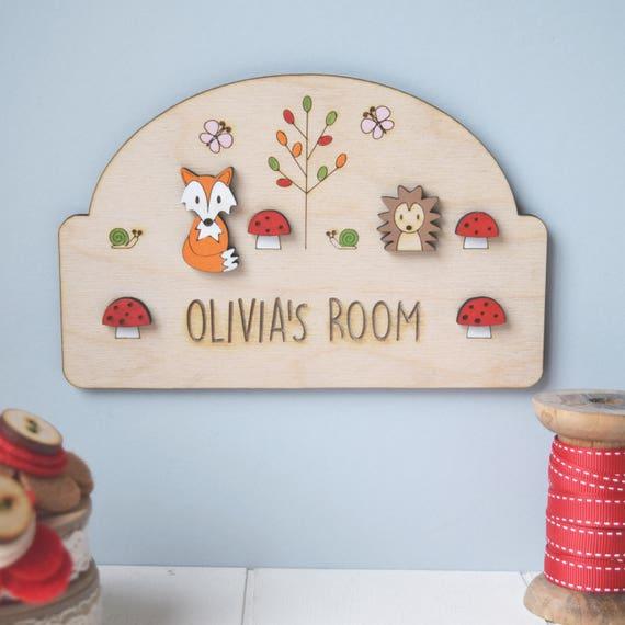 Woodland Door sign - Woodland Nursery - Child's door sign - Cute hedgehog and fox