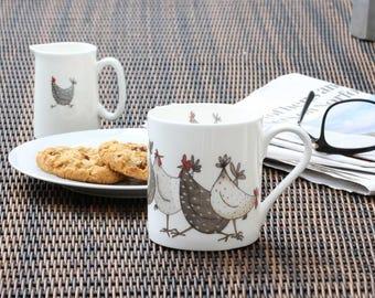 Chicken Mug 'Chicken Wrap', Fine Bone China, Country Kitchen, Chicken Gift, New Home Gift, Christmas Gift