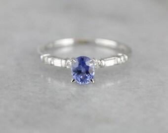 Slim Line Sapphire Diamond White Gold Engagement Ring TCJPDT-P