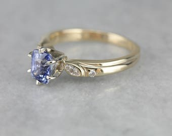 Vintage Sapphire Engagement Ring, Sapphire and Diamond, Anniversary Ring WYZ601-D