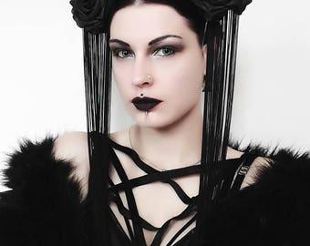 Gothic headpiece/haloween/witch headpiece/halo headpiece/flower headpiece/haloween/fantasyheadpiece/crown/steampunk headpiece/los muertos