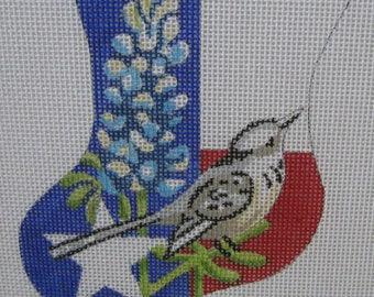 Handpainted Needlepoint Canvas Julie Mar Lone Star Texas Mini Stocking KL171-1