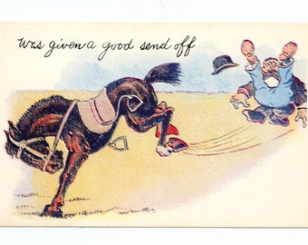 Vintage Postcard | Was Given a Good Send Off | Uncirculated Mid Century Postcard |  Funny Postcard  |  Colorful Postcard  |  Comic Postcards