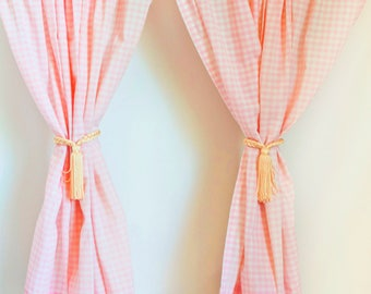 Vintage Pink Gingham Curtains, Checkered Cottage Chic Farmhouse Sink Drapes