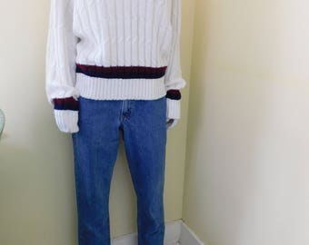 1980's,  Preppy, Cableknit, V-Neck, Sweater, Styled by The National Shirt Shop, Coat to Coast, Size Medium, 100% Virgin Orlon Acrylic