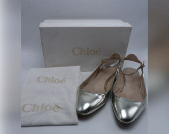 CHLOE Silver Leather Mary Jane Cut - Out Flats