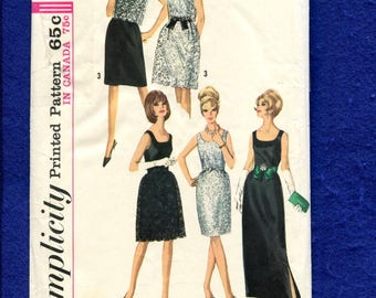 1960's Simplicity 6227 Evening Elegance Scoop Neck Dresses and Sheer Overlay Size 10