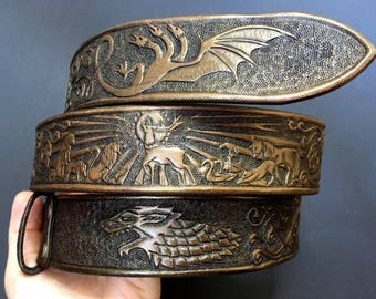 Hand tooled leather belt with bronze sheen - Exclusive fantasy gift - Custom made belt with astrolabe ornament