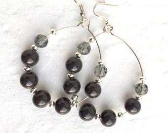 Gray hoop earrings, Beaded hoop earrings, Gray beaded hoop earrings, Large beaded hoops, Beaded earrings, Large hoop earrings, Hoop earrings