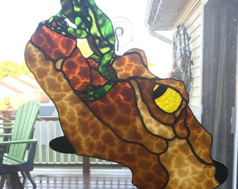 Stained Glass Frog Panel, Stained Glass Alligator Panel, Frog on a Gator Panel, Frog Glass Panel, Alligator Glass Panel