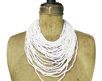 Long White Bead Necklace, White Bib Necklace, White Seed Bead Necklace, White Bead Multi Strand Necklace, Long White Necklace