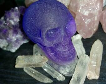Matte Periwinkle Purple Resin Skull Decorative Ornament
