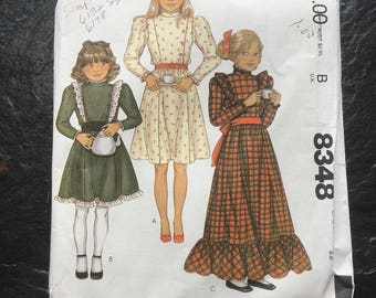 Girl's Prairie Dress Pattern // McCall's 8348, size 12, leg-o-mutton sleeves, unused