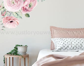 Flower Wall Decal, Floral Wall Decal, Watercolor Wall Decals, Flower Wall Stickers, Watercolor Flower Wall Decal, Nursery Wall Decal 04-0006