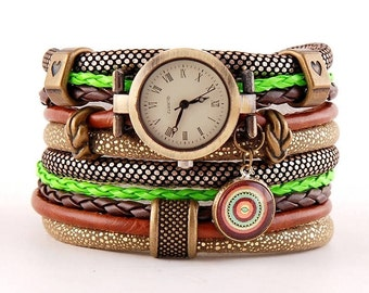 bracelet and a watch, cuff, stylish watch,brown green and ginger