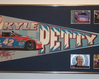 NASCAR driver Kyle Petty Coors Light Silver Bullet Pennant & Cards...Custom Framed!!!!