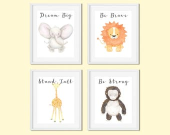 Safari nursery decor Safari animals print set Dream big Elephant Be brave Lion Stand tall Giraffe Be strong Gorilla Gender neutral nursery