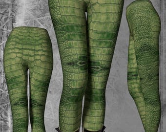 Crocodile Armour Scales Print Grungy Green High Waist Leggings