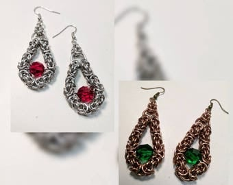 Byzantine Teardrop with Swarovski Crystal Chainmaille Earrings