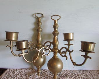 Pair Brass Sconce Candelabra Wall Hanging Two Arms.