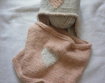 Snood adult heart Beanie knit 100% hand-made in France set gray and pink hearts all sizes and colors scarf