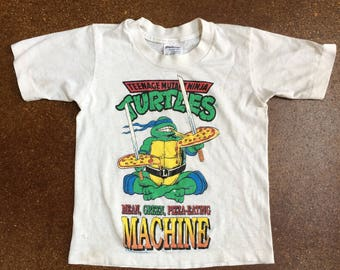 Vintage Youth Teenage Mutant Ninja Turtles Mean Green Pizza-Eating Machine Shirt Made in USA 1990 Mirage Studio Leonardo Kids Shirt