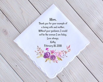 Mother of the Bride Gifts   Handkerchief   Printed Hanky   Gifts for Mom   Keepsake Wedding Hankies