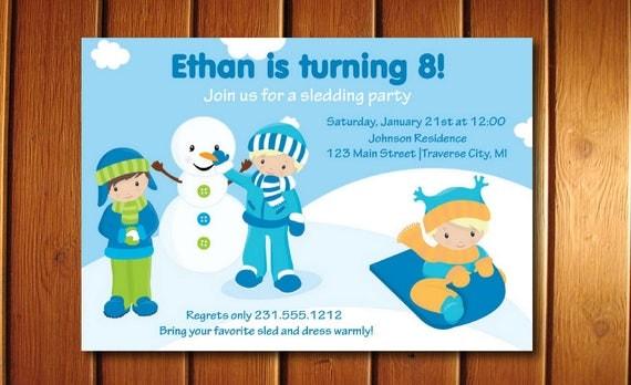 Boys Sledding Invitation Childrens Snow Party Invite Printable