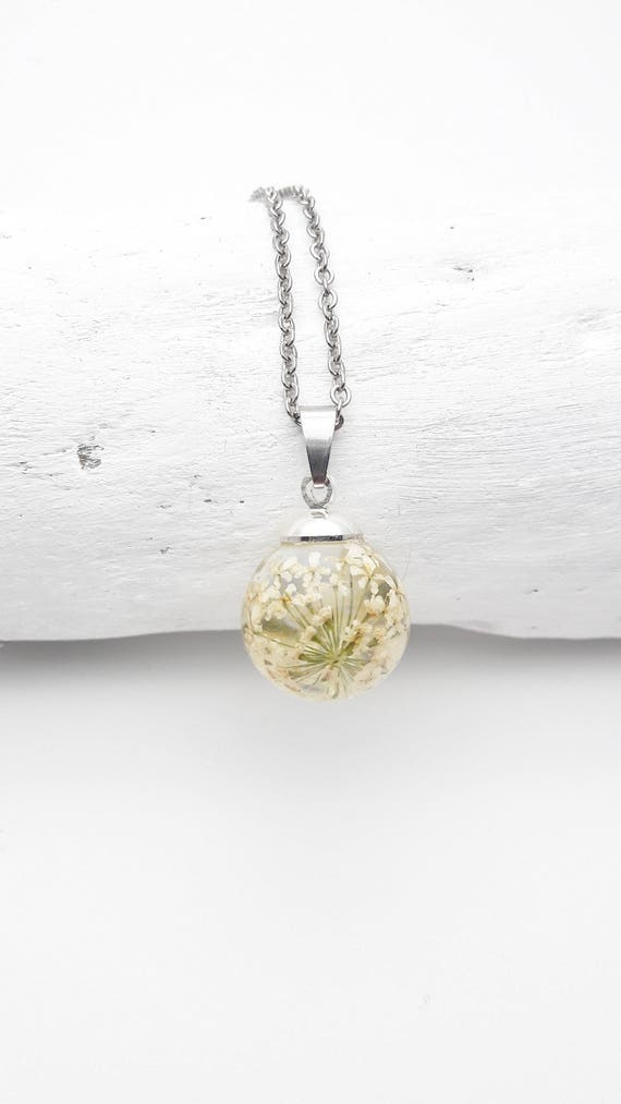 Small ball Necklace white flowers queen anne's lace resin and silver steel chain hypoallergenic