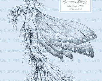 Digital Stamp - Aurora Wings Fantasy Art Line Image - Lady Butterfly 2 - Instant Download for Arts and Crafts - Detailed Adult Coloring Page