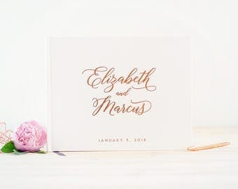 Wedding Guest Book with Rose Gold foil landscape guestbook horizontal wedding book Rose Gold guest book wedding guestbook photo guest book
