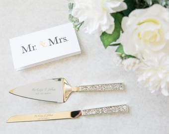 Personalized Kate Spade Simply Sparkling Silver Wedding Cake Knife And Server Set 2 PC SET
