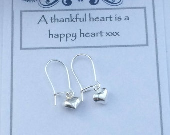 Sterling Silver Small Puffed Heart Earrings