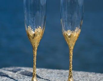 Wedding Champagne Flutes, Rose Gold Champagne Flutes, Gold Wedding Toasting Flutes, Lace Gold Champagne Glasses, Bride & Groom Glasses, Set