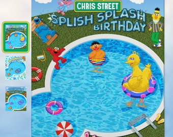 Splish Splash Pool Party Backdrop | 3 Designs - Sesame Street - Aqua Blue Tile - Grassy Fun | Free Snapchat Geofilter