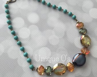 Beautiful aurora crystal and turquoise beaded necklace, ready to ship!