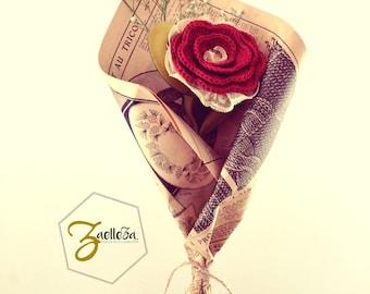 """Bouquet de Fleur Intemporelle Saint Valentin Crochet Tissu Cuir Dentelle Journal Papier / Pièce Unique ref02 - Coll.""""Mon Coeur Mon Amour"""""""