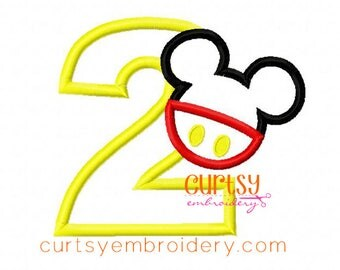 Mouse Embroidery Design, Mouse Applique Design, Birthday Embroidery Design, 2nd Birthday